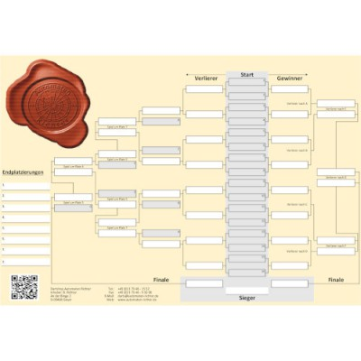Turnierplan Plakatware - 16er Feld
