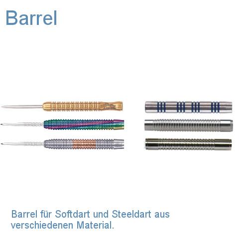 Barrel für Softdart und Steeldart aus verschiedenem Material.