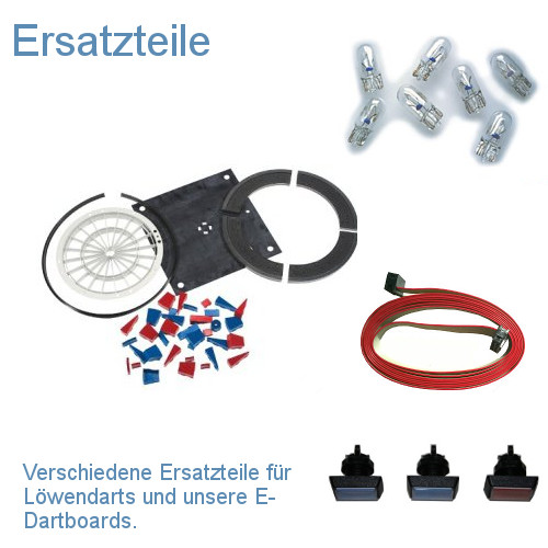 Verschiedene Ersatzteile für Löwendarts und unsere E-Dartboards.