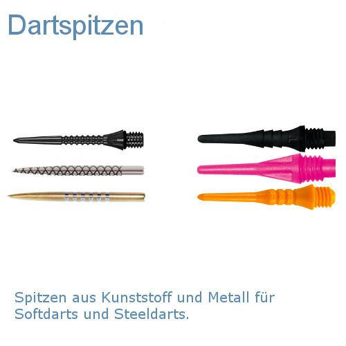 Spitzen aus Kunststoff und Metall für Softdarts und Steeldarts.