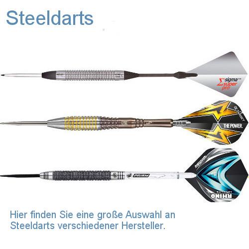 Steeldartpfeile verschiedener Hersteller.